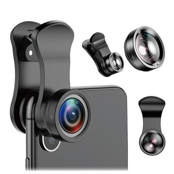 Baseus Universellt Kameralins Kit - Wide Angle / Macro - Svart