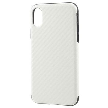 iPhone X Belagd TPU-skal - Kolfiber - Vit ee95b70591017