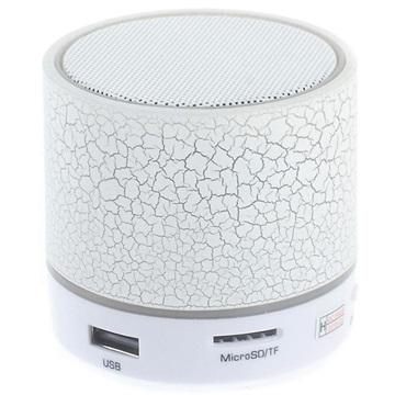 Mini Bluetooth Högtalare med Mikrofon & LED Ljus A9 - Sprucket Vit