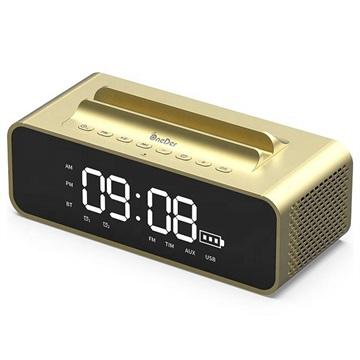 OneDer V06 Stereo Bluetooth Högtalare / Väckarklocka - 10W - Guld