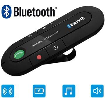 Bärbar Bluetooth Handsfree - Solskydd Fäste - Svart