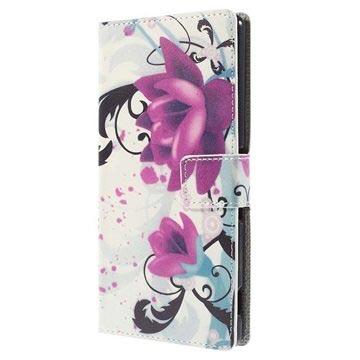 Sony Xperia M4 Aqua, M4 Aqua Dual Stylish Plånbok Väska - Lotusblomm