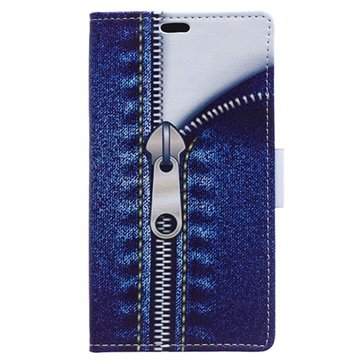 Sony Xperia M4 Aqua, M4 Aqua Dual Stylish Plånbok Väska - Blixtlås