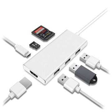 7-i-1 USB 3.1 Typ-C Adapter - HDMI, USB 3.0, SD Kort, Typ-C