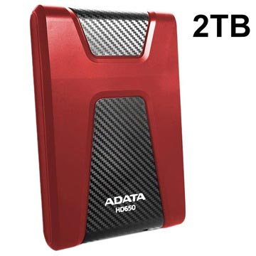 Adata HD650 USB 3.1 Extern Hårddisk - 2TB - Röd