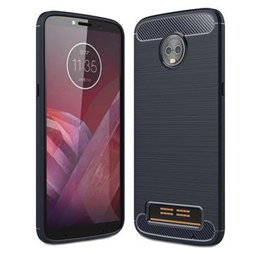 Motorola Moto Z3 Play Borstat TPU-skal - Kolfiber - Mörkblå