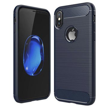 iPhone X   iPhone XS Borstat TPU-skal - Kolfiber - Mörkblå ... 34f9fc7496b96