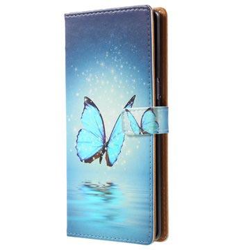 Samsung Galaxy Note8 Glam Plånboksfodral - Blå Fjäril