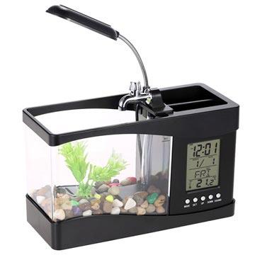 Mini Akvarium med LCD Klocka & LED Skrivbordslampa - Svart