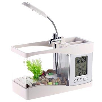 Mini Akvarium med LCD Klocka & LED Skrivbordslampa - Vit