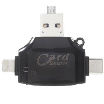 4-in-1 Multifunktionell MicroSD/SD Kortläsare - Svart