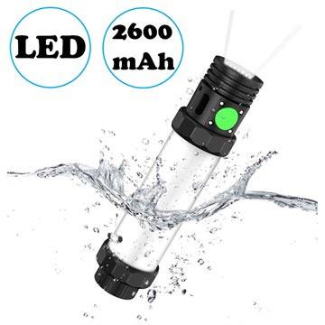 Outxe 3-i-1 IP68 Vattentätt LED Lampa / Powerbank - 2600mAh