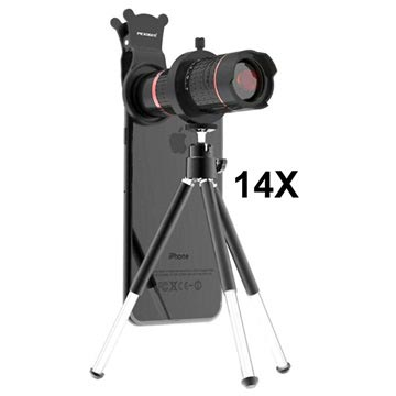 Pickogen 14X 4K Teleskop Kameralins med Mini Tripod Stativ - Röd / Sv