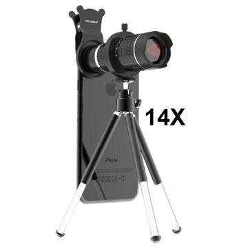 Pickogen 14X 4K Teleskop Kameralins med Mini Stativ - Silver / Svart