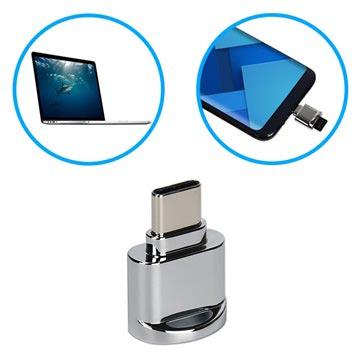 Bärbar USB 3.1 Type-C / MicroSD OTG Kortläsare - Grå