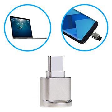 Bärbar USB 3.1 Type-C / MicroSD OTG Kortläsare - Silver
