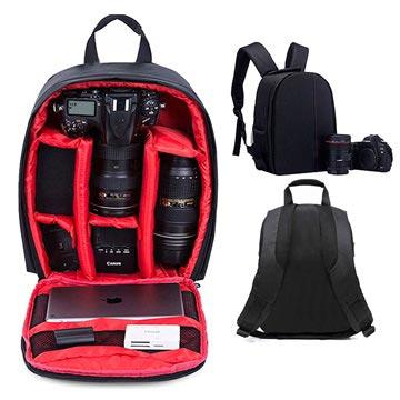 Premium Outdoor DSLR Kamera Ryggsäck - Svart / Röd