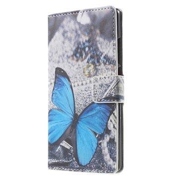 Huawei P8 Stylish Plånbok Fodral - Blå Fjäril