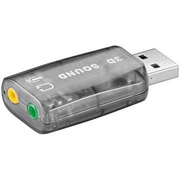 Ljudkort - USB A plug> 2 x 3,5 mm stereo jack