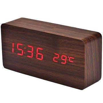 LED Väckarklocka - Wooden Design
