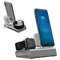 3-in-1 Aluminiumlegering Laddningsstation - iPhone, Apple Watch, AirPods - Grå