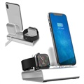 3-in-1 Aluminiumlegering Laddningsstation - iPhone, Apple Watch, AirPods - Silver