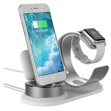 3-in-1 Hållare / Dockningsstation till iPhone, AirPods, Apple Watch - Silver