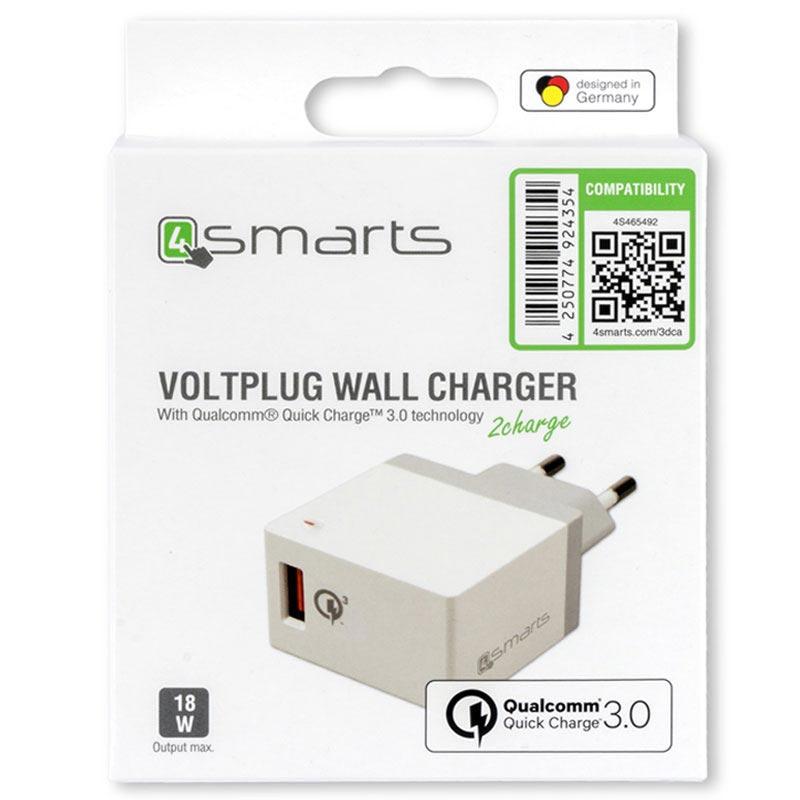 4smarts VoltPlug Qualcomm Quick Charge 3.0 Väggladdare Vit