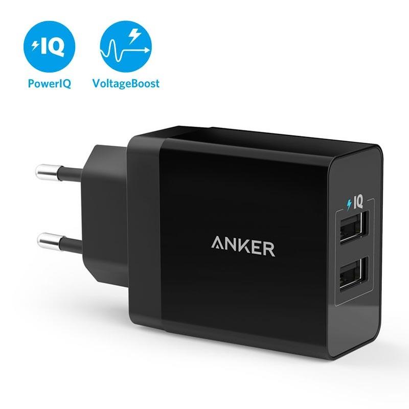 Anker PowerPort 2 Snabb Väggladdare 2 x USB, 24W Svart