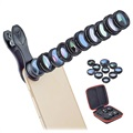 Apexel 10-i-1 Universell Clip-On Kameralins Kit - Svart