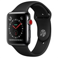 Apple Watch Series 3 LTE MQM02ZD/A - Rostfritt Stål, Sportband, 42mm, 16GB - Rymdgrå/Svart