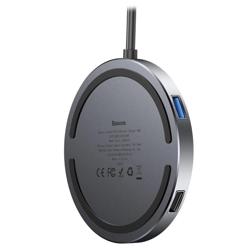 Baseus Circular Mirror Trådlös Laddare och Hub Typ C PD, 4x USB