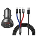 Baseus Digital Display Dubbel USB Billaddare - 4.8A - Grå