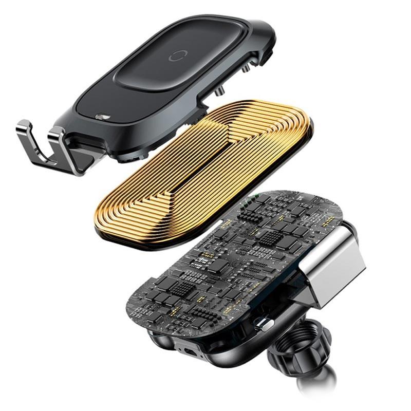 Baseus Intelligent Qi Trådlös Billaddare Bilhållare Svart