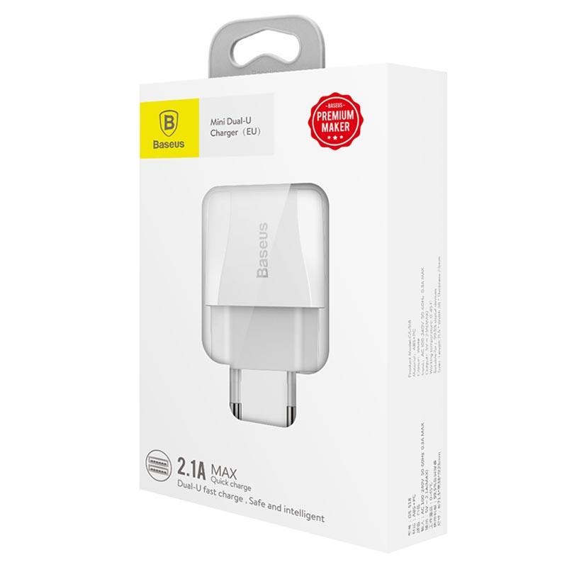 Baseus Mini Dubbel USB Väggladdare 12W Vit