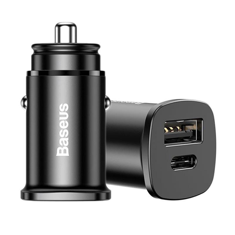 Billaddare, 12V24V DC, USB USB C, 6A, svart