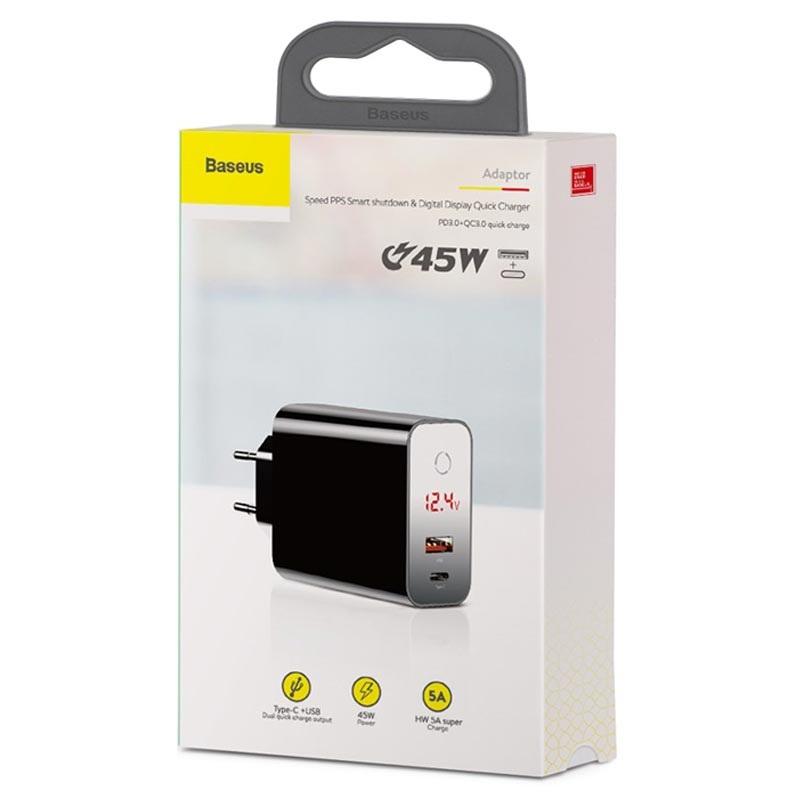 Baseus Speed PPS Smart Väggladdare med USB & USB C PD 45W