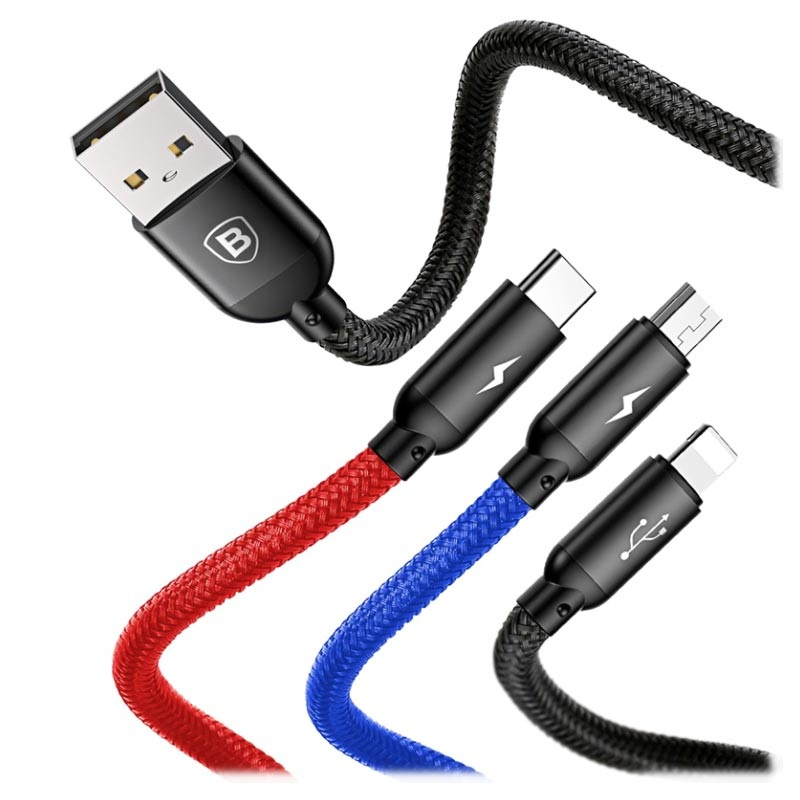Baseus Three Primary Colors 3-i-1 Kabel - 1.2m - Svart