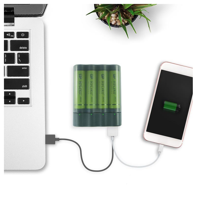 GP Charge AnyWay AA/AAA USB Batteriladdare & Powerbank