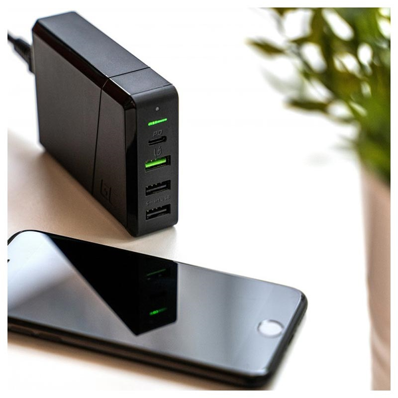 Green Cell Power Source Snabb Laddstation - USB-C PD, 3x USB - 75W