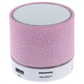 Mini Bluetooth Högtalare med Mikrofon & LED Ljus A9 - Sprucket Rosa