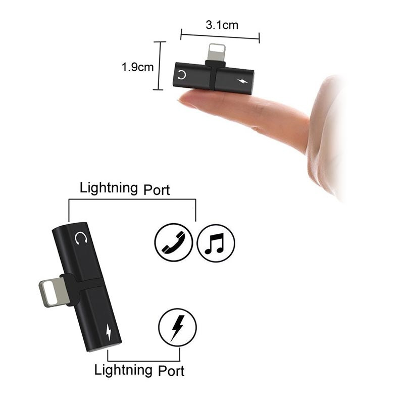 Mini T-Shape 2-i-1 Lightning Adapter - iPhone XS Max/XS/XR
