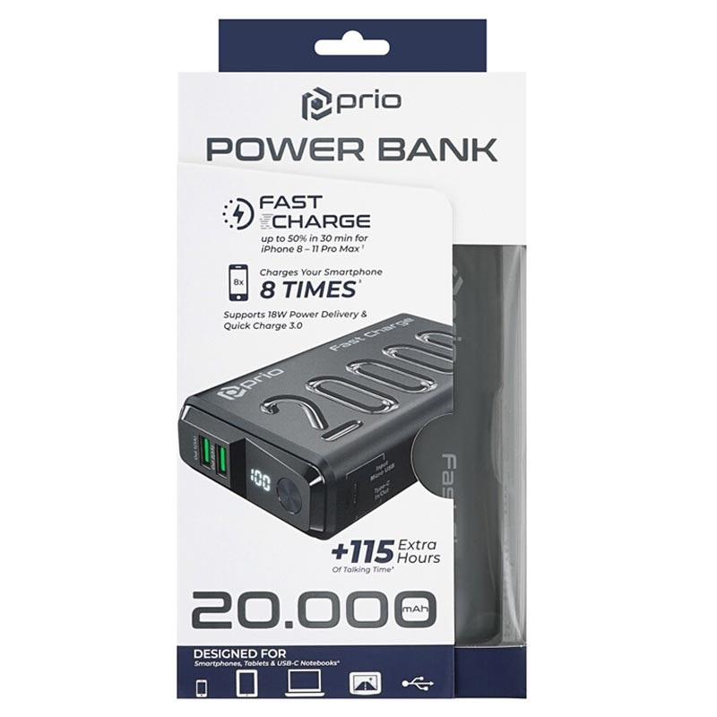 Prio Fast Charge Powerbank med PD & QC3.0 - 20000mAh - Svart