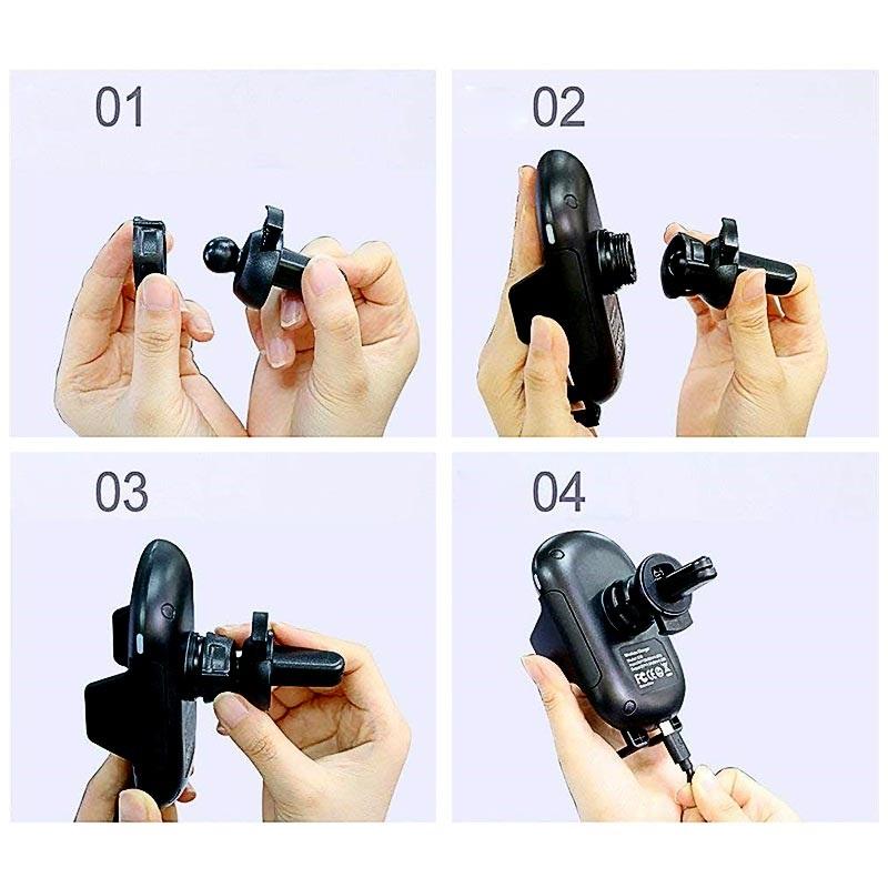 Qi Trådlös Billaddare Bilhållare med Infraröd Rörelsesensor C10