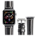 Qialino Apple Watch Series SE/6/5/4/3/2/1 Armband I Läder  - 42mm, 44mm - Svart