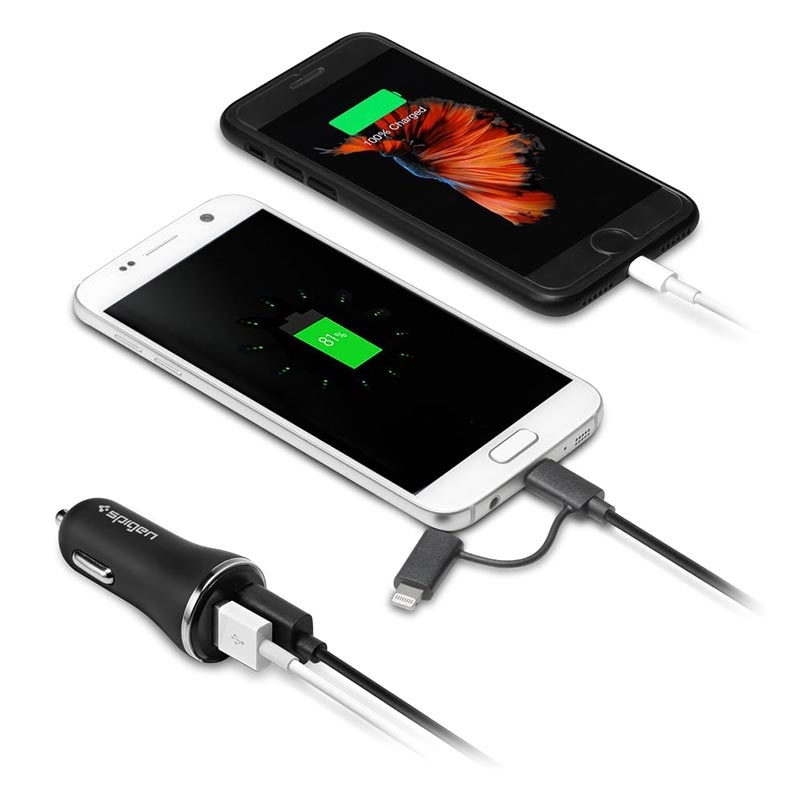 Spigen F27QC Quick Charge 3.0 Billaddare - 2xUSB, 5.4A - Svart