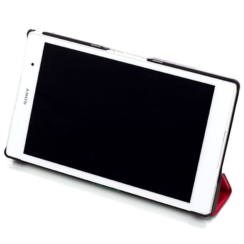 Sony Xperia Z3 Tablet Compact Tri-Fold Läder Fodral - Svart