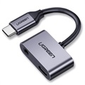 Ugreen 2-i-1 Laddning & Ljud USB-C Adapter - 1.5A - Grå
