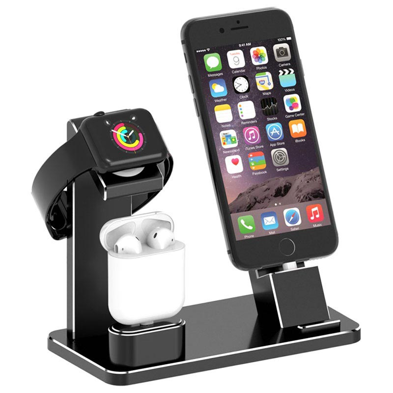3 i 1 Laddningsstativ HJZJ001 iPhone, Apple Watch, AirPods Svart