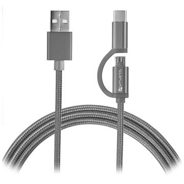 4smarts ComboCord Fabric MicroUSB & Type-C Kabel - 2m - Grå